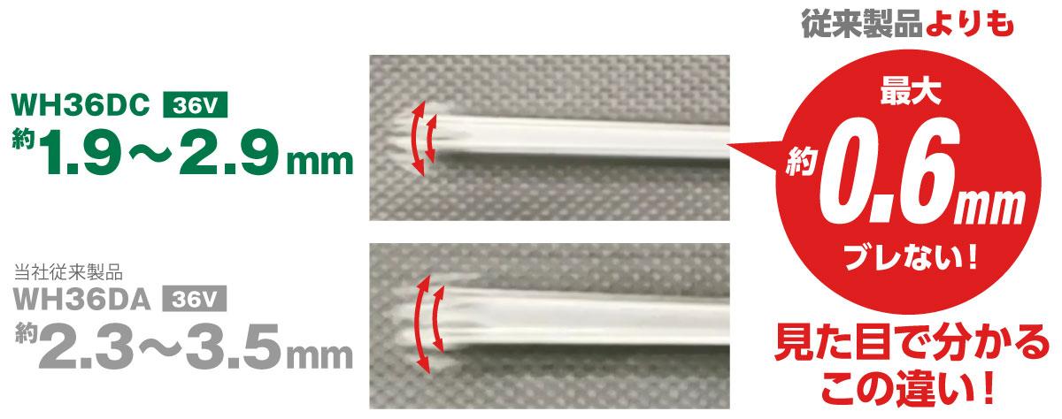 振れ量比較の画像。WH36DCは約1.9〜2.9mmの振れ、当社従来製品WH36DAは約2.3〜3.5mmの振れで従来製品よりも最大約0.6mm振れません。